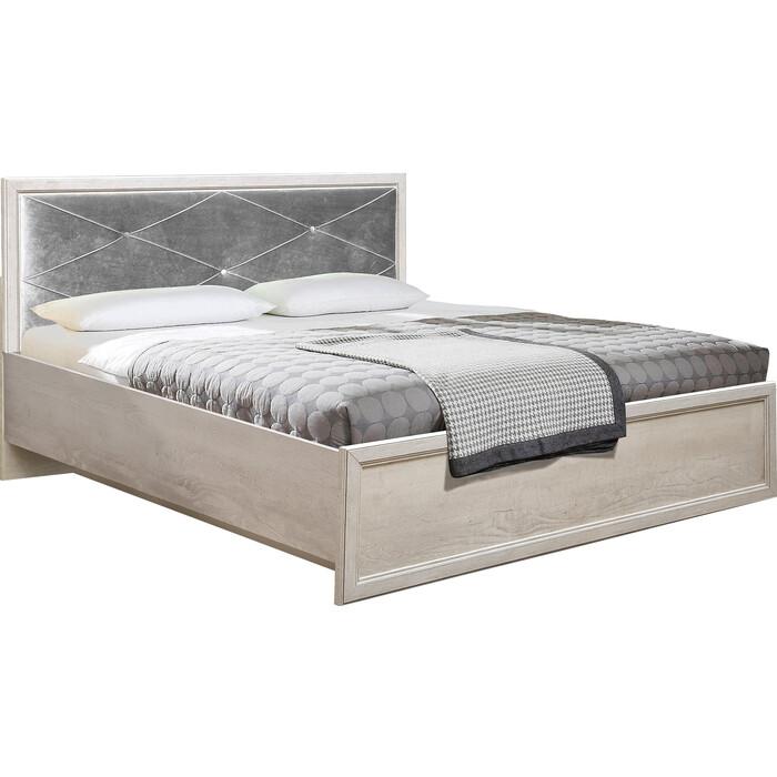 Кровать с подъемным механизмом Олимп 32.26-01 сохо 140 бетон пайн белый / профиль бетон пайн белый патина / белый / ДВПО белый / ткань велюр серый