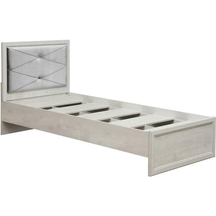 Кровать одинарная с настилом Олимп 32.23 сохо 90 бетон пайн белый / профиль бетон пайн белый патина / ткань велюр серый