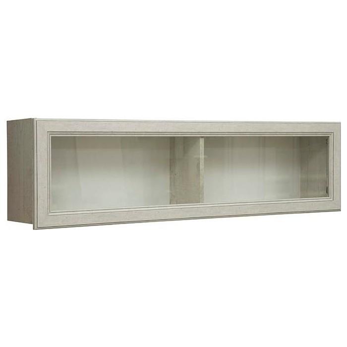 Полка навесная Олимп 32.18 сохо бетон пайн белый / профиль бетон пайн белый патина / ДВПО белый / стекло