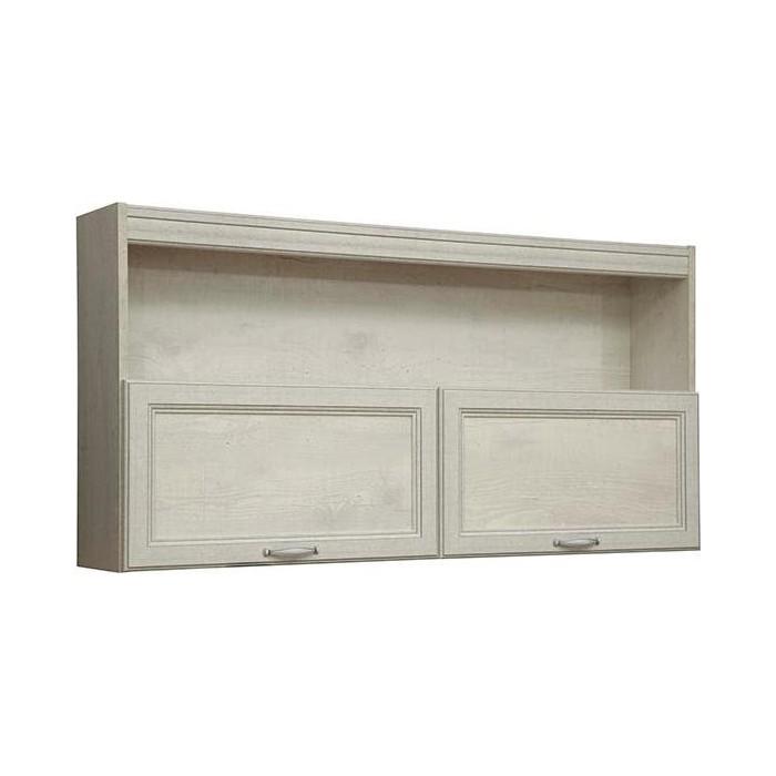 Полка навесная Олимп 32.19 сохо бетон пайн белый / Masa Decor бетон пайн белый / профиль бетон пайн белый патина / ДВПО белый