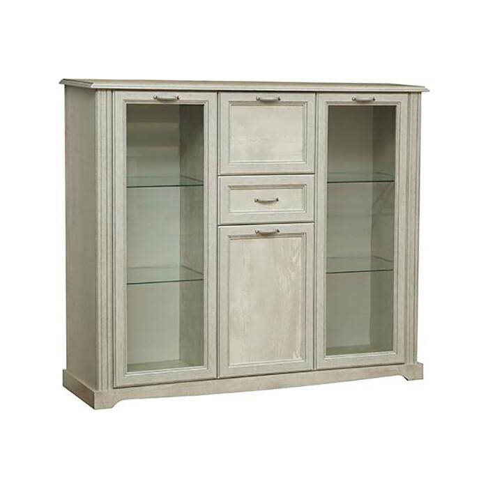 Шкаф комбинированный Олимп 32.07 сохо бетон пайн белый / Masa Decor бетон пайн белый / профиль бетон пайн белый патина / ДВПО белый / стекло