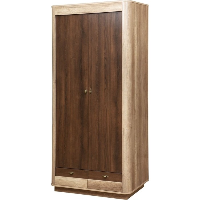 Шкаф для одежды 2-х дверный Олимп 34.03 фантазия дуб каньон / белый кальяри профиль ДВПО