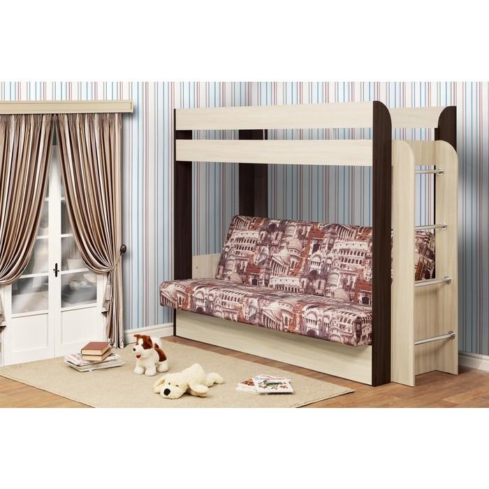 Кровать - чердак с диван кроватью Олимп Немо (без верхнего матраца) дуб линдберг / венге ткань архитектура КИТ осн.
