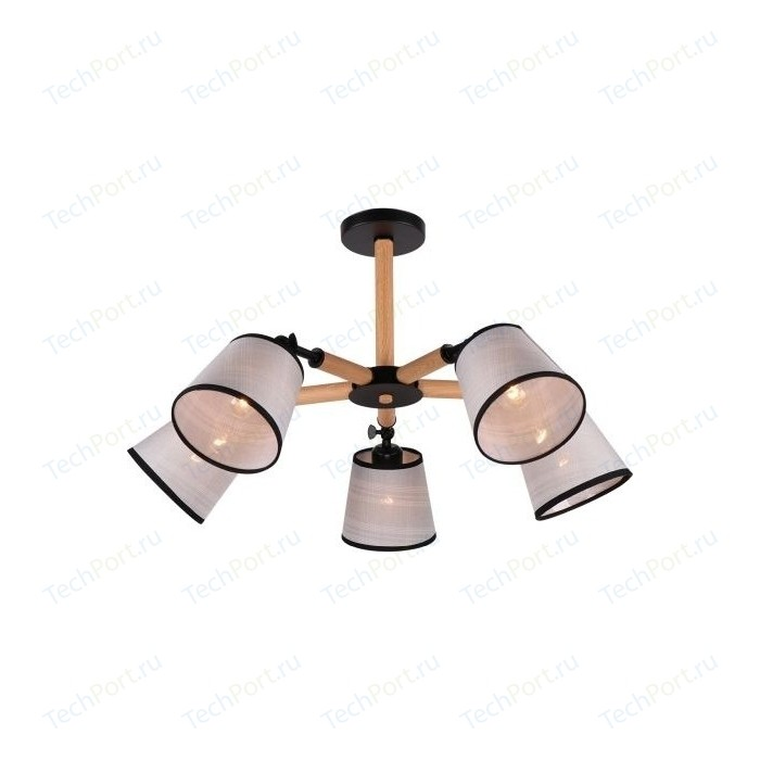 Люстра потолочная Imex MD.0809-5-S BK+BR 5*60Вт E27