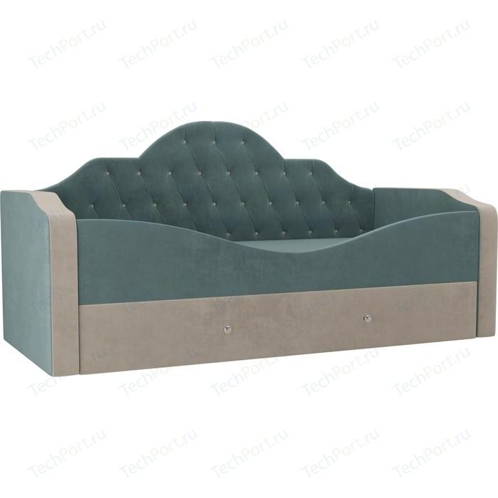 Детская кровать АртМебель Скаут велюр бирюза бежевый