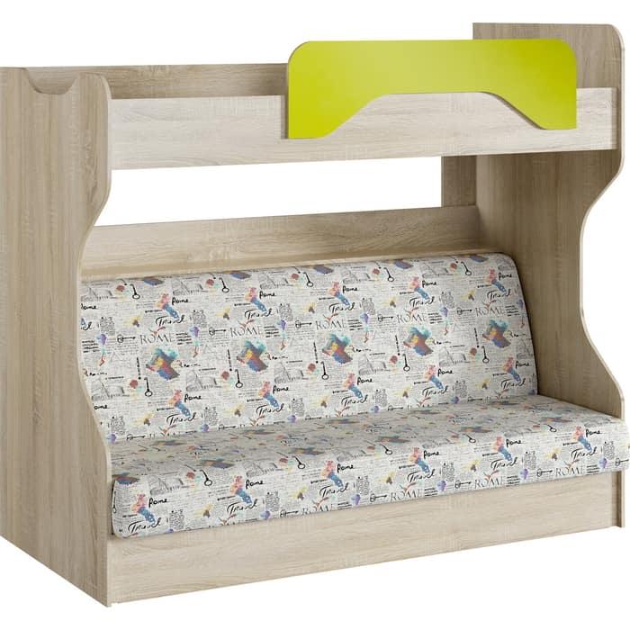 Кровать 2-х ярусная Сильва НМ 037.43 акварель дуб сонома/лайм с диваном