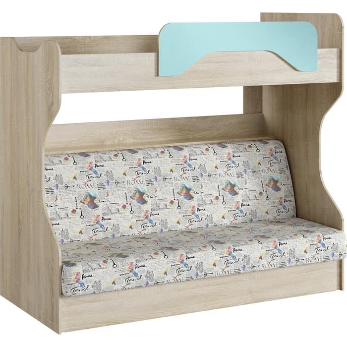 Кровать 2-х ярусная Сильва НМ 037.43 акварель дуб сонома/кенди с диваном