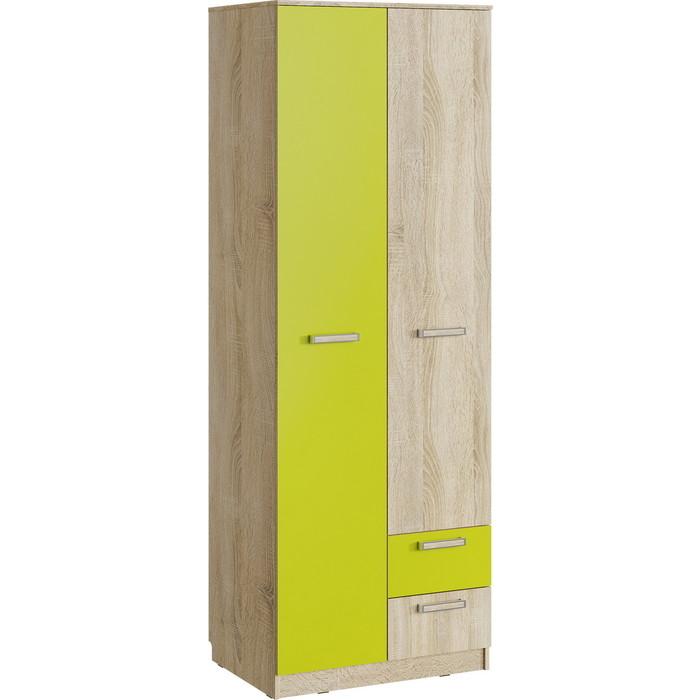 Шкаф для одежды Сильва НМ 14.07 акварель дуб сонома/лайм с ящиками