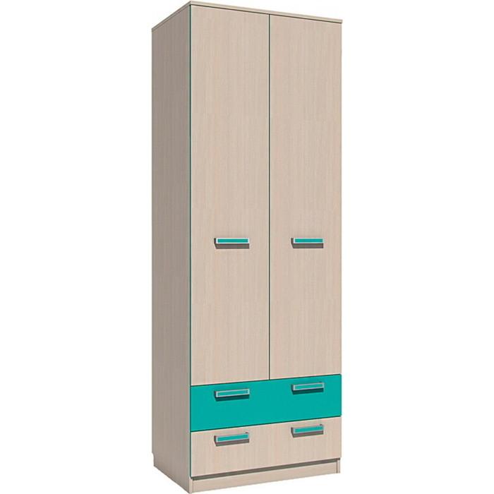 Шкаф для одежды с ящиками Сильва НМ 013.02-03 М рико дуб девонширский/аква