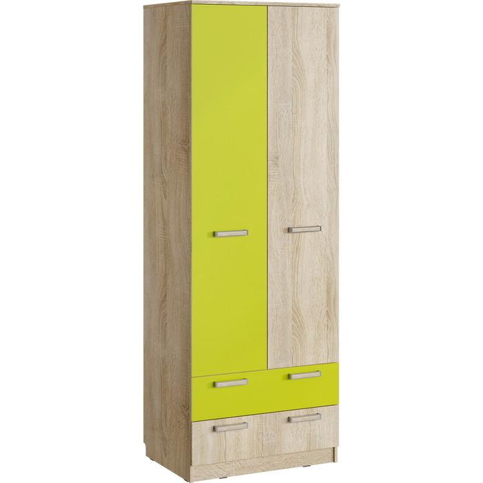 Шкаф для одежды с ящиками Сильва НМ 013.02-03 М акварель дуб сонома/лайм