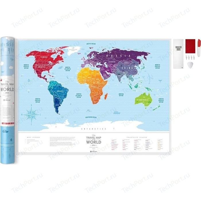 Карта 1DEA.me Travel map silver world