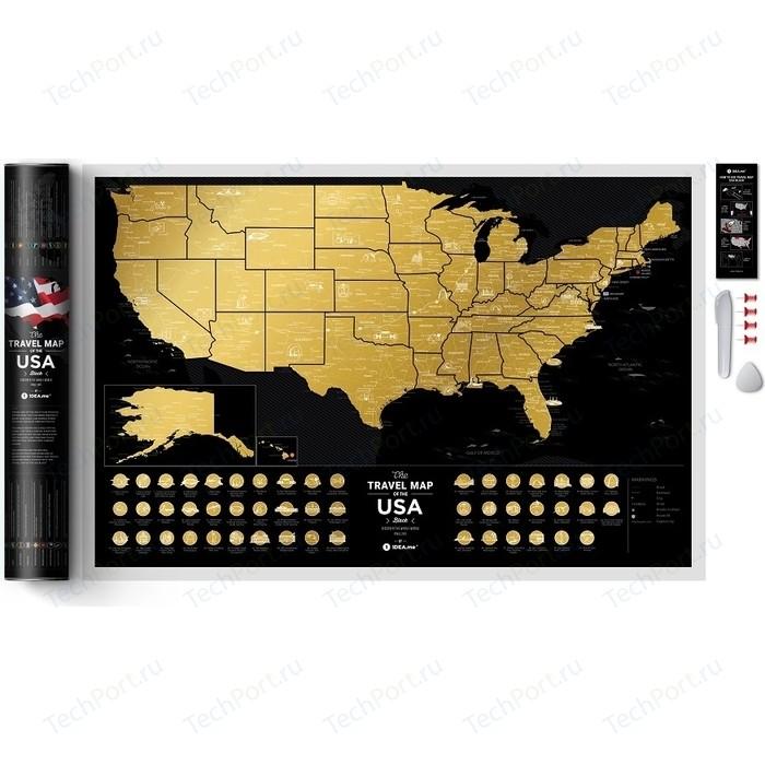Карта 1DEA.me Travel map usa black