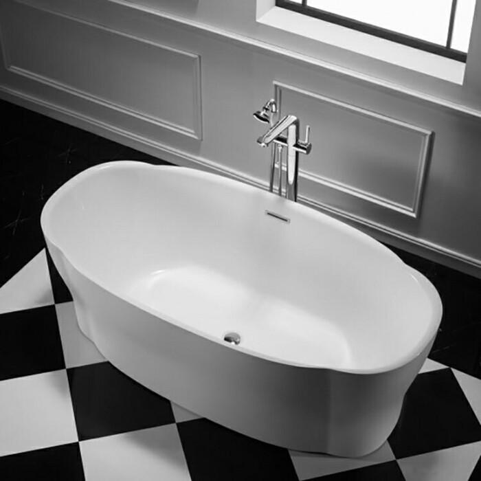 Акриловая ванна BelBagno 170x85 слив-перелив хром (BB403-1700-850)