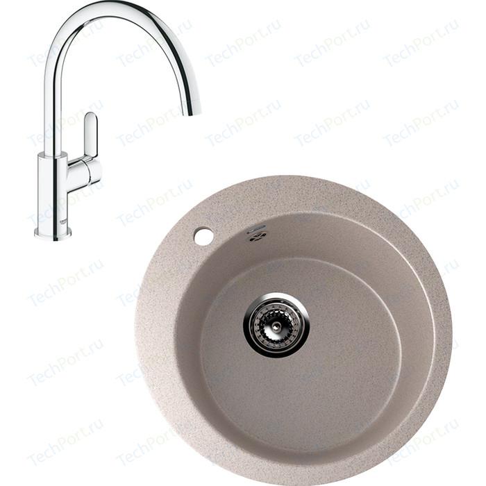 Кухонная мойка и смеситель Ulgran U-405 Grohe BauEdge (U-405-302, 31367000)