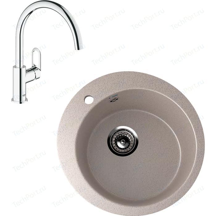 Кухонная мойка и смеситель Ulgran U-405 Grohe BauLoop (U-405-302, 31368000)