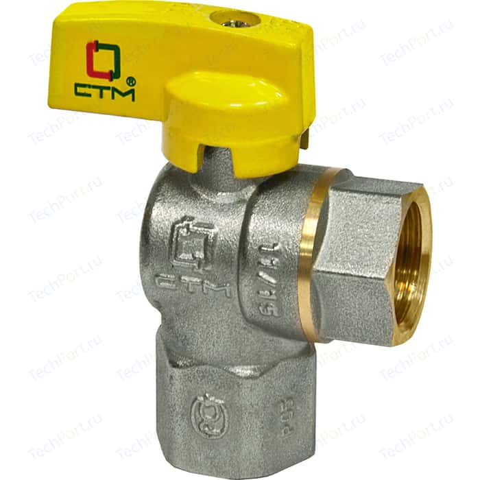 Кран шаровый СТМ для газа угловой 3/4 гайка/гайка, бабочка (CGLFFB34) кран шаровый стм для газа 2 гайка штуцер рычаг cgfmh002