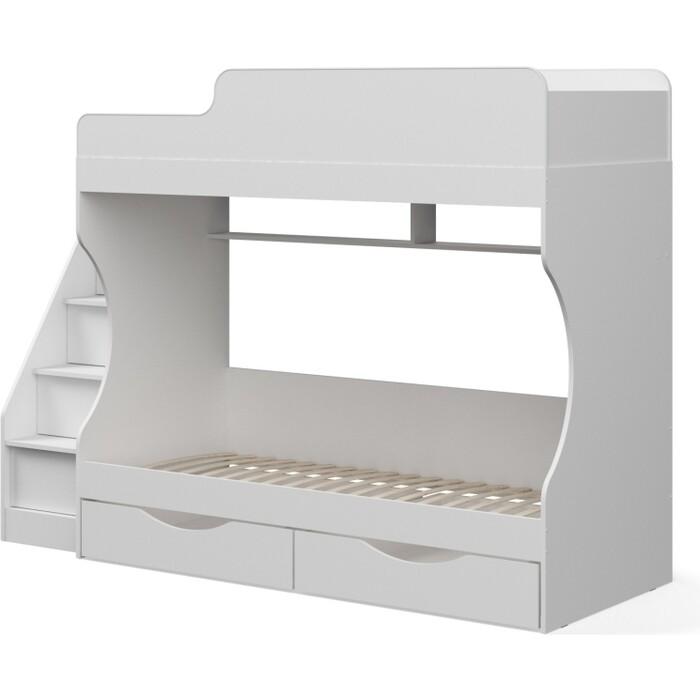 Двухъярусная кровать Капризун 6 белая с ящиками