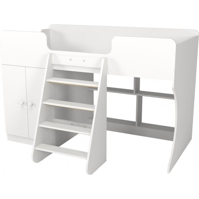 Кровать-чердак Капризун Р441 2 белый со шкафом