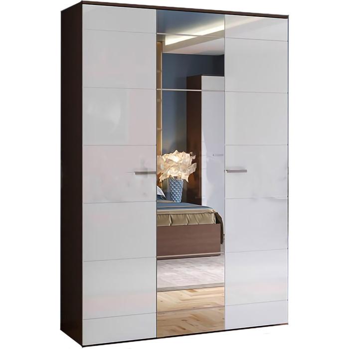 Шкаф для одежды 3-дверный Миф Нэнси белый глянец/венге