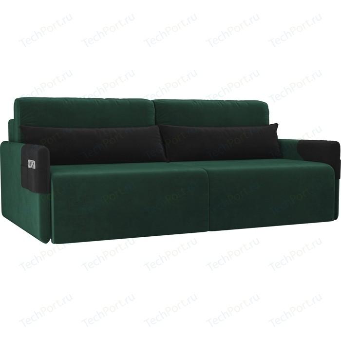 Прямой диван Лига Диванов Армада велюр зеленый черный