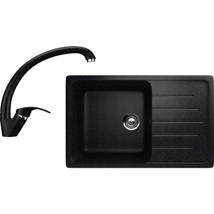 Кухонная мойка и смеситель EcoStone ES-19 черная (ES-19-308, ES-02-308)