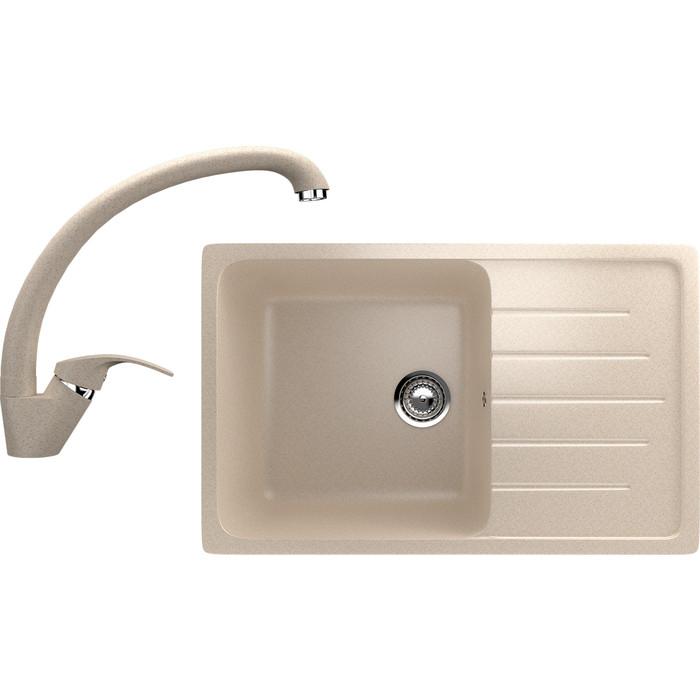 Кухонная мойка и смеситель EcoStone ES-19 бежевая (ES-19-328, ES-02-328)