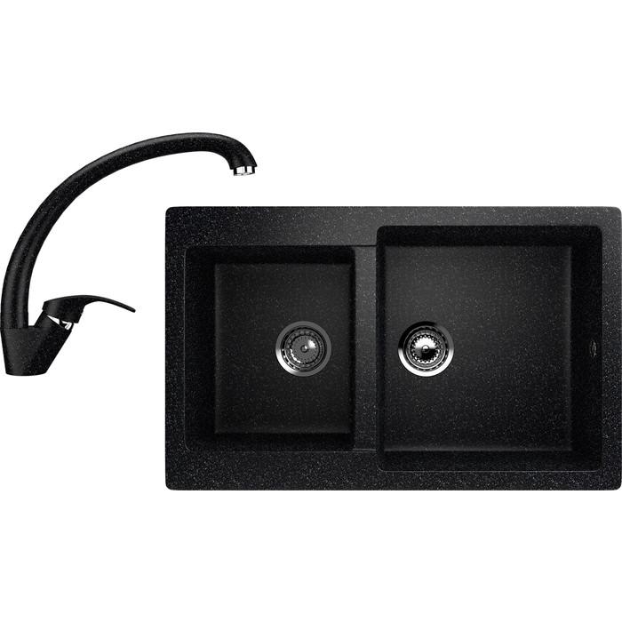 Кухонная мойка и смеситель EcoStone ES-28 черная (ES-28-308, ES-02-308)