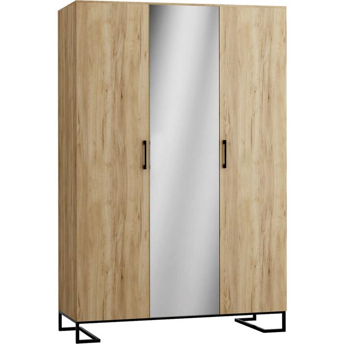 Шкаф 3-дверный R-home Loft дуб натуральный с зеркалом