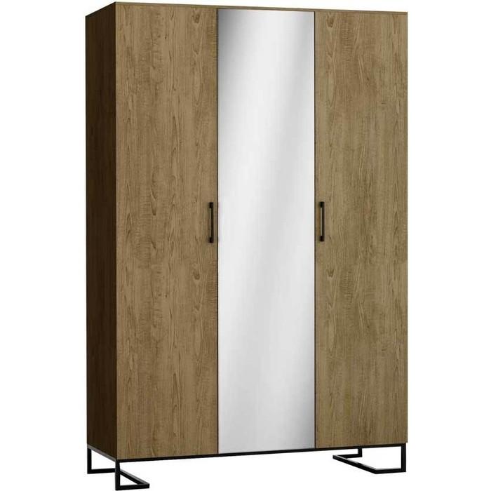 Шкаф 3-дверный R-home Loft дуб табак с зеркалом панель для прихожей с зеркалом loft дуб табак