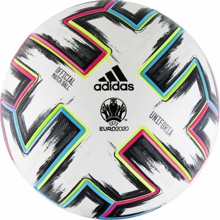 Мяч футбольный Adidas EURO 2020 UNIFORIA OMB,FH7362, р.5, бело-черно-розово-синий