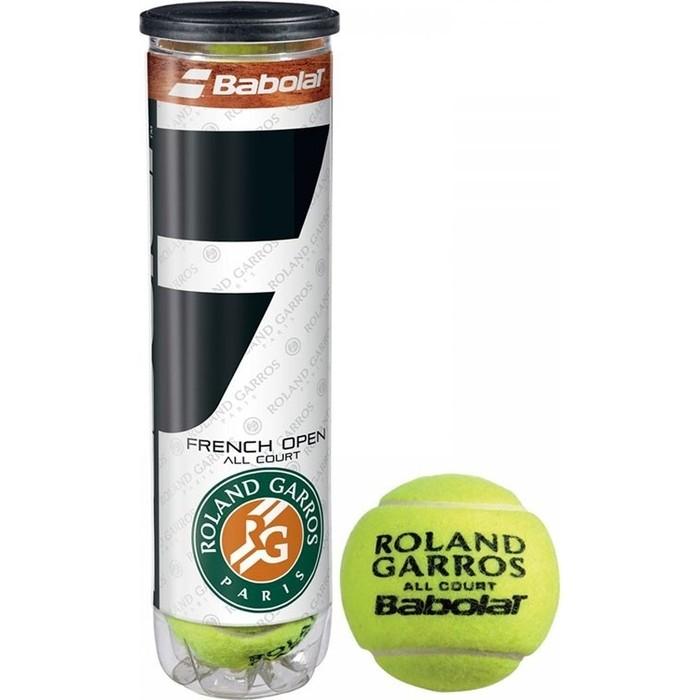 Мяч для большого тенниса Babolat French Open All Court, 502036, уп.4 шт,одобр. ITF, фетр, нат.резина, желтый