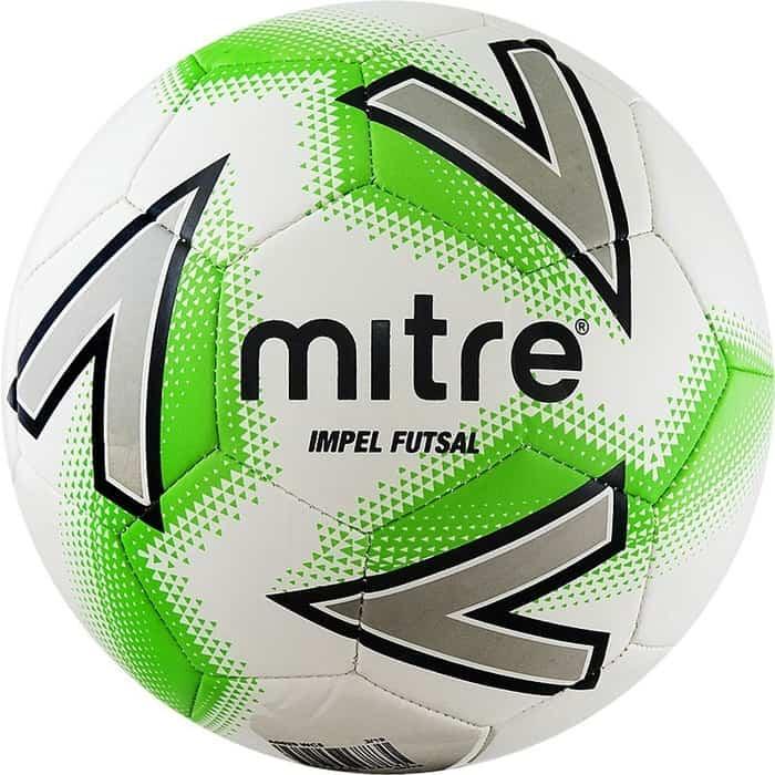 Мяч футзальный Mitre Futsal Impel A0029WC5, р.4, бел-зеленый-чер-серебро