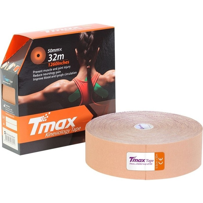 Тейп кинезиологический Tmax 32m Extra Sticky Biege (5 см x 32 м), 423211, телесный