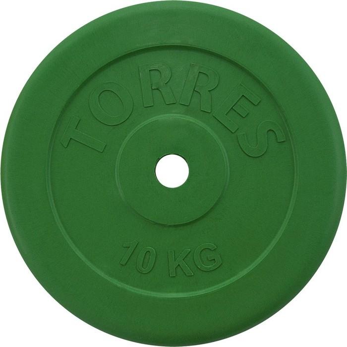 Диск обрезиненный Torres 10 кг. 25 мм. зеленый