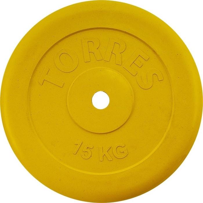 Диск обрезиненный Torres 15 кг. 25 мм. желтый