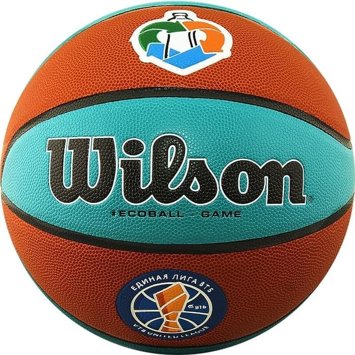 Мяч баскетбольный Wilson VTB SIBUR Gameball ECO, р.7, лого Единой Лиги ВТБ, коричнево-бирюзовый