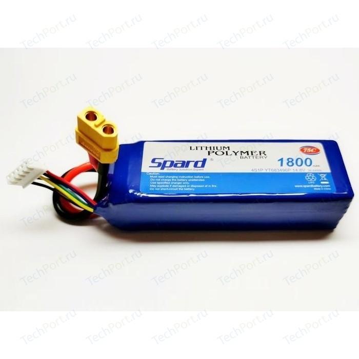 Аккумулятор Spard Li-Po 14.8V 1800mAh 75C, XT60 - YTA015 аккумулятор team orion li po 11 1в 3s 50c 3500мач