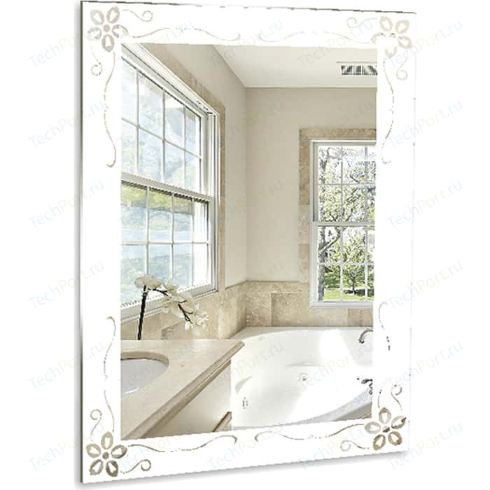 Зеркало Mixline Магнолия 53,5х75 с пескоструйным рисунком (4620001986323)