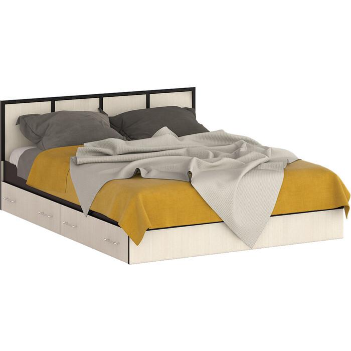Кровать с ящиками 160 СВК Сакура венге/дуб лоредо 160х200 основание/универсальная сборка свк камелия кровать с ящиками 1800 две тумбы венге дуб лоредо 180х200