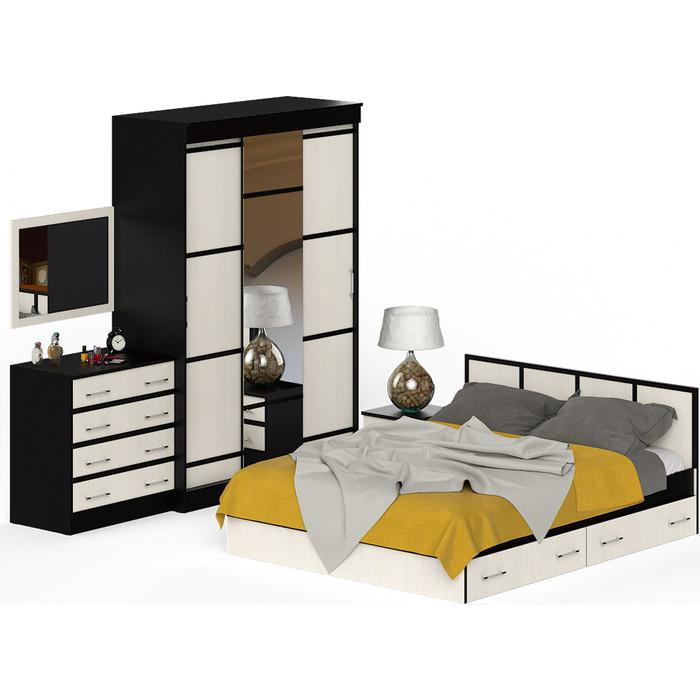 Спальня СВК Сакура № 1 (комод + зеркало кровать 160x200 тумба Шкаф-купе 150, универсальная сборка)