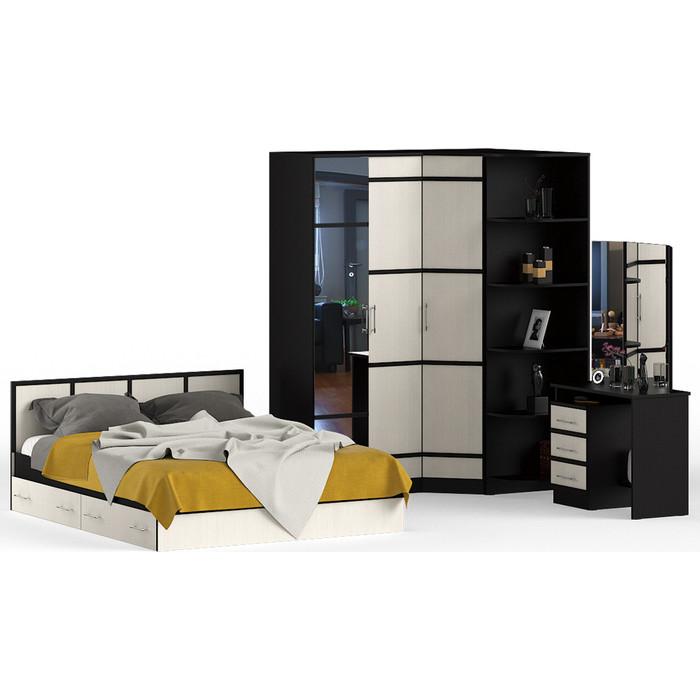 Спальня СВК Сакура № 3 (стол косметический + кровать 160x200 шкаф 2-х створчатый угловой угол, универсальная сборка)