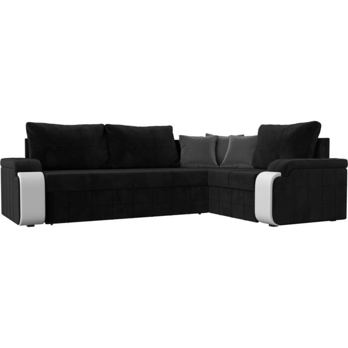 Диван угловой Лига Диванов Николь велюр черный угол правый диван угловой лига диванов челси велюр черный правый угол