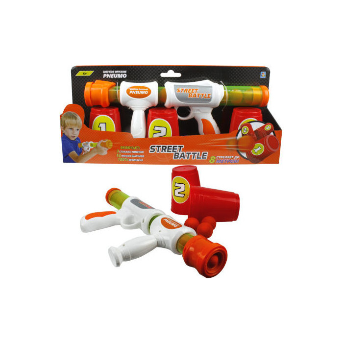 Игрушечное оружие 1Toy Street Battle с мягкими шариками 12 шариков Т13646 игрушечное оружие автомат пневматический maschinenpistole 2463005
