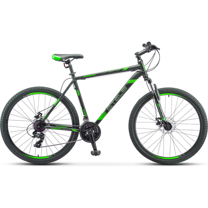 Велосипед Stels Navigator 700 MD 27.5 F010 (2019) 17.5 черный/зеленый велосипед stels navigator 670 md 2015