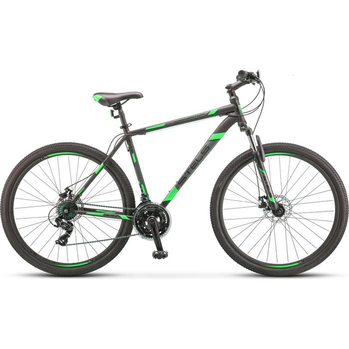 велосипед stels navigator 900 d 29 f010 21 серебристый синий Велосипед Stels Navigator-900 MD 29 F010 17.5 Чёрный/зелёный