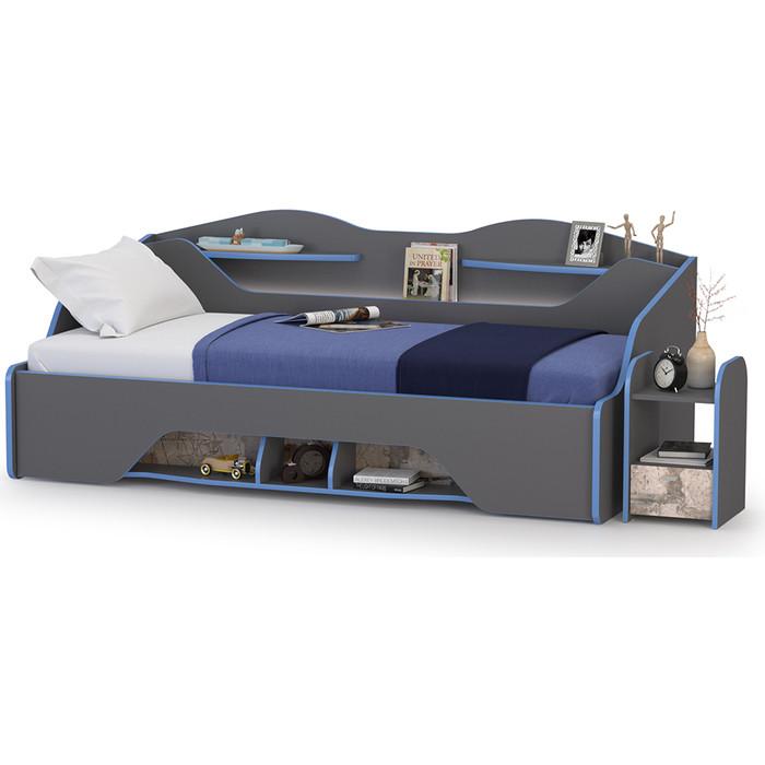 Кровать Моби Индиго 11.03 + тумба прикроватная 13.86, темно серый/граффити 90х200