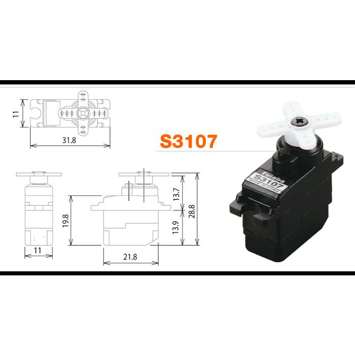 Аналоговаямикро сервомашинка Futaba SERVO S3107 - FUS3107