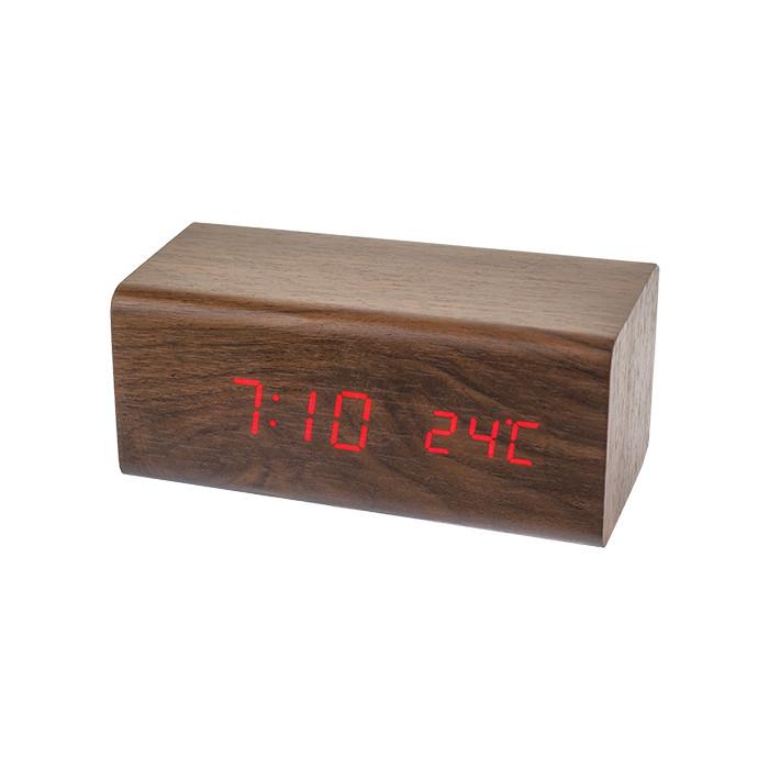 Радиобудильник Perfeo Block коричневый корпус /красная подсветка