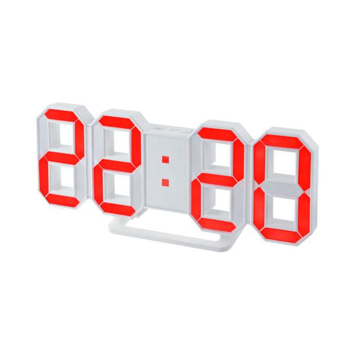 Радиобудильник Perfeo LUMINOUS белый корпус / красная подсветка