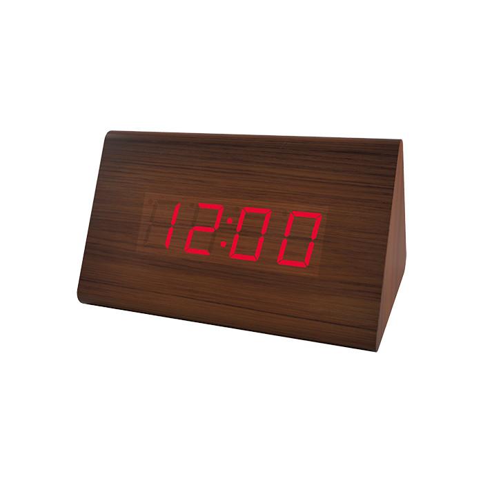 Радиобудильник Perfeo Trigonal коричневый корпус / красная подсветка